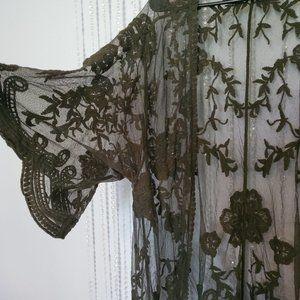 DIZZY GAL Green sheer duster kimono size M